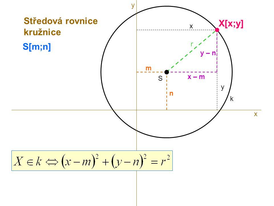 y Středová rovnice kružnice X[x;y] x S[m;n] r y – n m x – m S y n k x